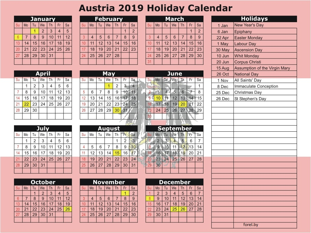 Christmas In Austria 2019.Holidays And Days Off Austria 2019